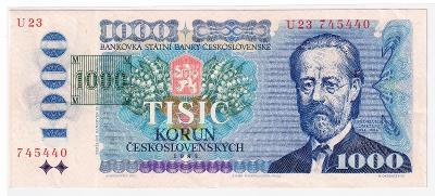 1000 Kčs 1985 - NEPERFOROVANÁ, pěkná - série U 21 + tištěný kolek