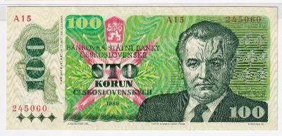100 Kčs 1989 Klement Gottwald, pěkná - série A 15
