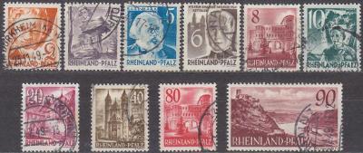 FRANCOUZSKÁ ZÓNA - RHEINLAND PFALZ 1948 Mi.: 32-41 - ražené