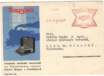 Prostějov frankotyp reklamní  KL s obrázkem 1929