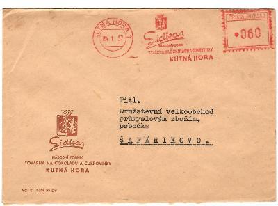 Frankotyp Lidka továrna na čokoládu 1957 Kutná Hora