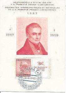 Pamětní list Praha J.E. Purkyně 1937