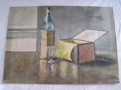 128/krásný obraz O.Kříž 1920 Zátiší s lahví-orig. akvarel 59x43cm!!!