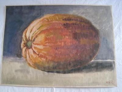 129/velký obraz O.Kříž 1920 Zátiší s dýní-orig. akvarel 50x36cm!!!