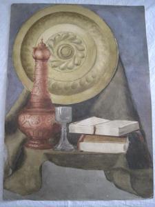 135/velký obraz O.Kříž 1920 Zátiší s karafou-orig. akvarel!!