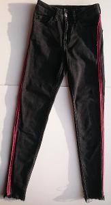 DENIM CO, černé elastické džíny  s pruhem vel. 34, jako NOVÉ