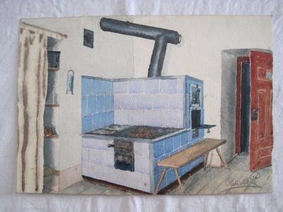 141/obraz O.Kříž 1920 Kuchyň s pecí-orig. akvarel!!