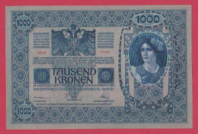 1.000 K 1902, s.1289, č.09016. růžový podtisk. Sbírková, stav UNC