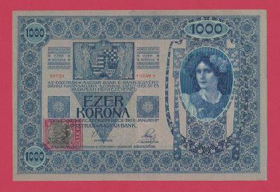 1.000 K 1902, kolek tištěný, vzácná v tomto stavu +XF,( +1 )