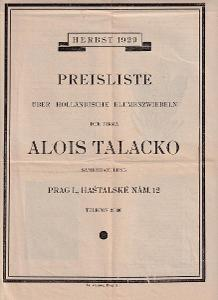 Leták květinářství Alois Talacko, Praha