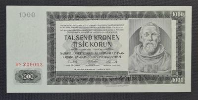 1000 Koruna 1942, Vzácná Poslední Série Kb - Jiný Odstín Papíru  !!!