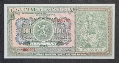 100 Kčs 1920 - (2020) Mucha, Série B, Jen 400 Ks !!! UNC