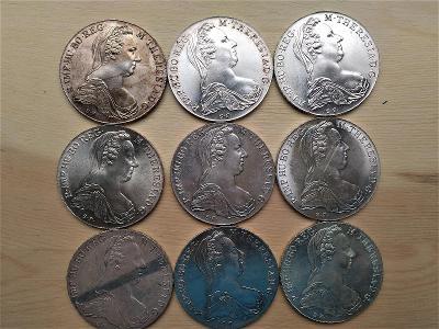 Stříbrný Tolar Marie Terezie 9 kusů.