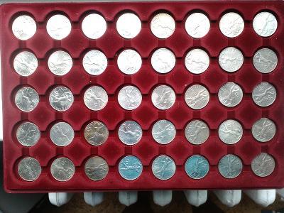 Stříbrná mince 50 Kčs Třetí výročí pražského povstání 1948 40 kusů.