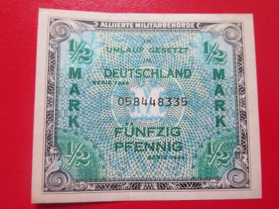 "1/2  Marka  1944 - tisk USA- s ""F""    KRÁSNÁ stav 1"