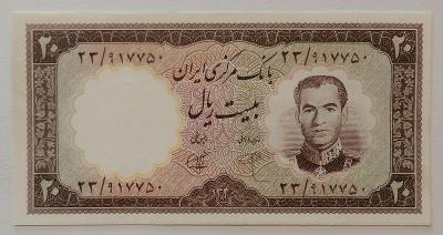 IRÁN (P072) 20 Rials 1961 UNC Hnědý číslovač