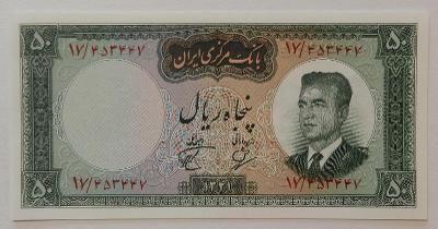 IRÁN (P073b) 50 Rials 1962 UNC Velké datum