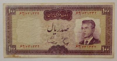 IRÁN (P080) 100 Rials ND(1965) F+