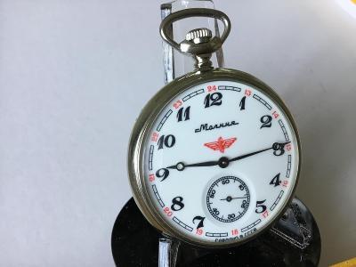 Nádražácké hodinky Molnija s ~ okřídleným kolem a Lokomotivou .TOP
