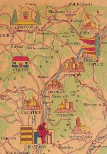 Československo-Piešťany-Trenč.Teplice-Luhačovice-mapa-památky-VF