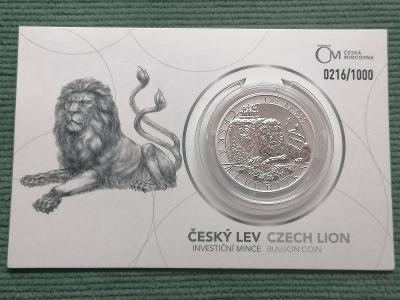 Český lev 2019, reverse proof, číslovaný, 1 oz Ag 999, vzácný