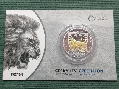 Český lev 2020, selektivní pozlacení, číslovaný, 1 oz Ag 999 proof