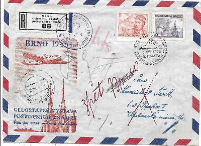 Doporučená etecká pamětní obálka a R nálepka Brno 1946 autopošta