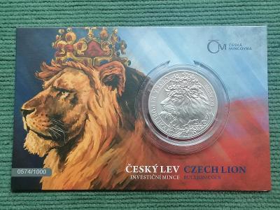 Český lev 2021, standard, číslovaný, 1 oz Ag 999, vzácný