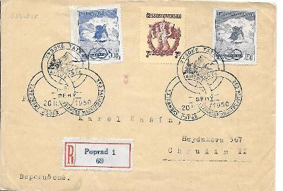 Doporučená obálka pamětní razítka Poprad sport 1950