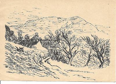 Pohled Tišnov Květnice pamětní razítko Tišnov 1945