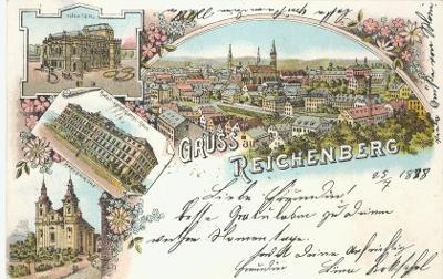 Gruss aus Reichenberg // Liberec - litografie