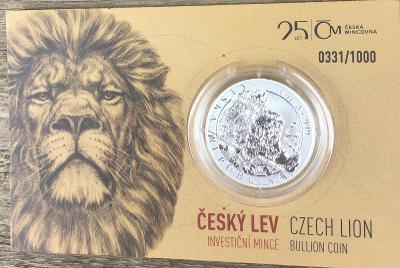 Stříbrná unc mince Český lev 2018 reverse proof číslováno od korunky
