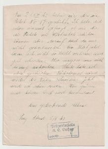 Německo, Koncentrační tábor Dachau, 2stránkový dopis zaslaný 5.8.1943
