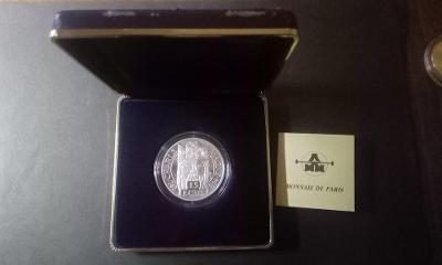 Francie - ag 100 Francs /15 Ecus - 1990 - proof s cert. a etui