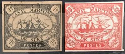 Egypt -Suezký průplav 1c a 40c.- 1868 - první emise