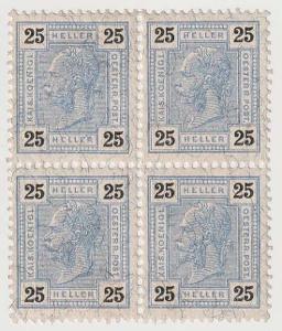 Rakousko, 1905, 25 H Franc Josef, 4blok, jedna známka lom v růžku