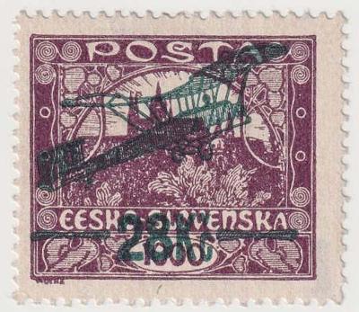 ČSR I., Letecké 1920, 28Kč/1000h modorfialová!, Hz.13 3/4:13 1/2