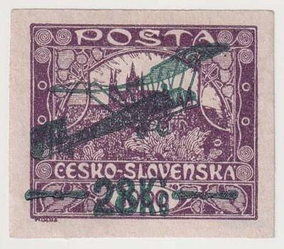 ČSR I., Letecké 1920, 28Kč/1000h modrofialová!, spolehlivě ověřeno