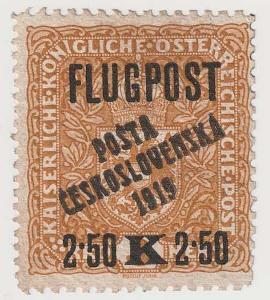 ČSR I., PČ 1919, 2.50K/3K FLUGPOST, přetisk spolehlivě ověřen Gilbert