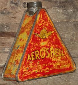 AEROSHELL Plechovka Neotevřená+ Držák  / shell mobiloil caroil jawa čz