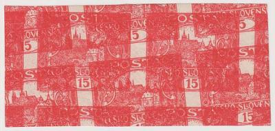 ČSR I., Hradčany, 15 h cihlově červená, 2páska se širokými okraji