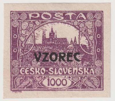 ČSR I., Hradčany, 1000 h fialová s přetiskem VZOREC, oblíbené, katalog
