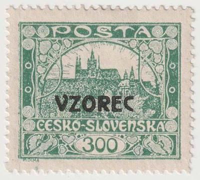 ČSR I.,Hradčany, 300 h zelenošedá, HZ 13 3/4:13 1/2 s přetiskem VZOREC