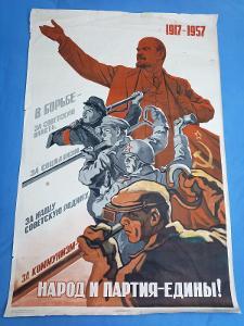 Velký ruský  propagandistický plakát z roku 1957