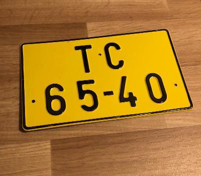 Stará spz TC žlutá - TOP stav!