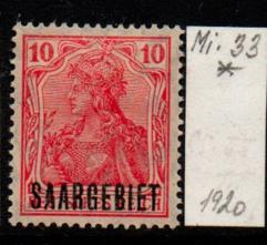 Německo-Sarre 1920 Mi. 33*