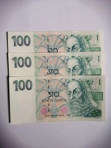 100 Kč 1993 Vzácná série A. 3 v postoupnosti