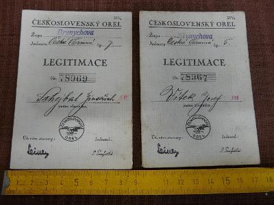 2x LEGITIMACE ČESKOSLOVENSKÉHO ORLA ŽUPA BRYNYCHOVA 1935
