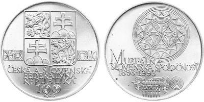 stříbrná pamětní mince 100 Kčs 1993 - Muzeální slovenská spol. - TOP !