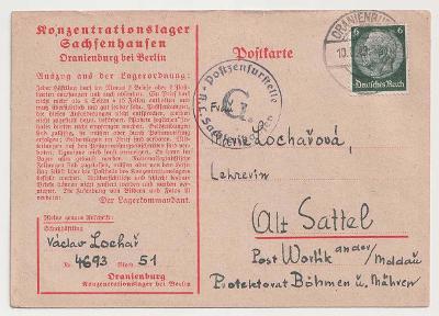 Německo, Koncentrační tábor Sachsenhausen, předtištěná táborová karta